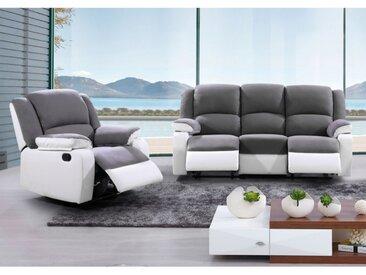 Canapé 3+1 places relax en microfibre et simili BILSTON II - Gris et blanc