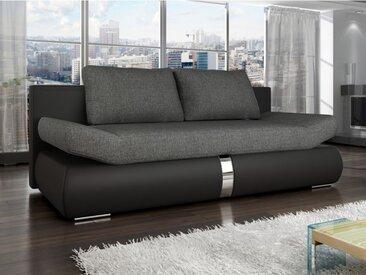 Canapé 2 places convertible JADEN en tissu et simili - Bicolore noir et anthracite