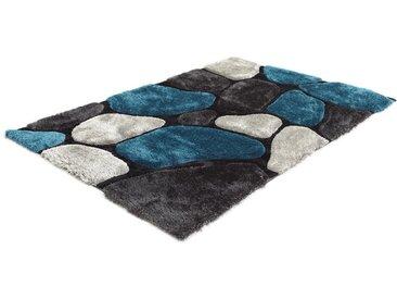 Tapis shaggy PIETRA turquoise et gris - polyester - 140*200cm