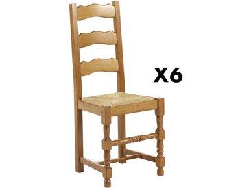 Lot de 6 chaises SEGUIN - Hêtre massif & assise en paille de seigle
