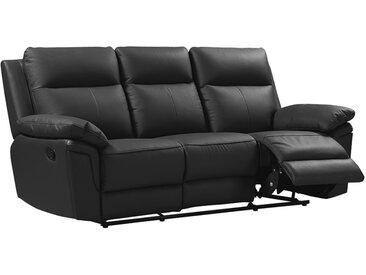 Canapé 3 places relax en cuir de buffle PAKITA - Noir