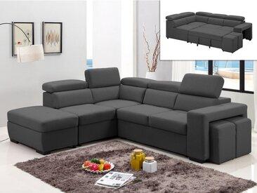 Canapé d'angle convertible en tissu et poufs SELOU - Angle gauche - Anthracite
