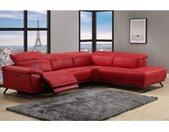 Canapé d'angle relax électrique en cuir AZIDEE - Rouge - Angle droit