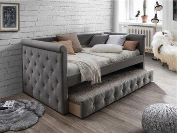 Lit banquette gigogne capitonné LOUISE - 2x90x190cm - tissu gris