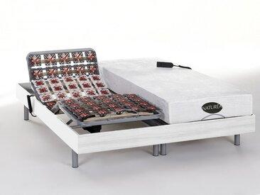 Lit électrique relaxation tout plots matelas mémoire de forme et bambou LYSIS III de NATUREA - moteurs OKIN - 2x90x200cm - blanc