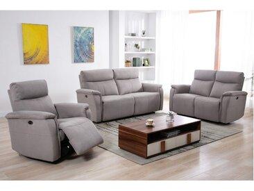 Canapé 3+2+1 places relax électrique HENEL en tissu  - Beige