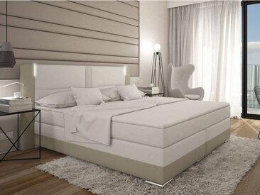 Ensemble boxspring complet tête de lit avec Leds + sommiers + matelas + surmatelas ASTI de DREAMEA - 160x200cm - simili - Crème et blanc