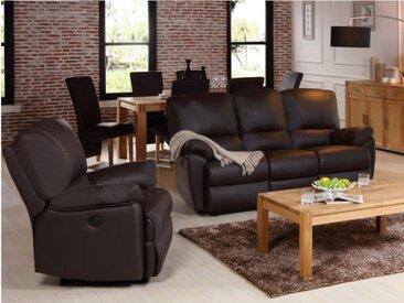 Canapé 3+1 places relax électrique en cuir MARCIS - Marron