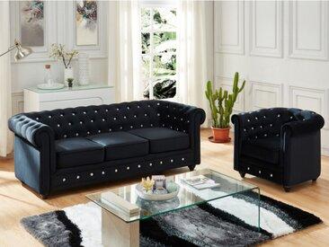 Canapé 3 places et fauteuil CHESTERFIELD - velours noir et boutons effet cristal