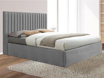 Lit coffre avec tête de lit coutures verticales SARAH - 160x200cm - Tissu - Gris
