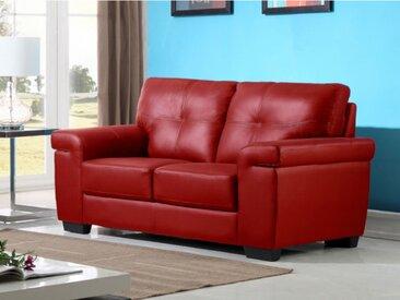 Canapé 2 places en cuir HAZEL - Rouge
