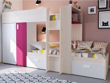 Lits superposés JULIEN - 2x90x190cm - Armoire intégrée - Pin blanc et fuschia