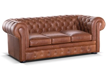 Canapé Chesterfield 3 places convertible 100% cuir LONDRES - Cuir vintage caramel