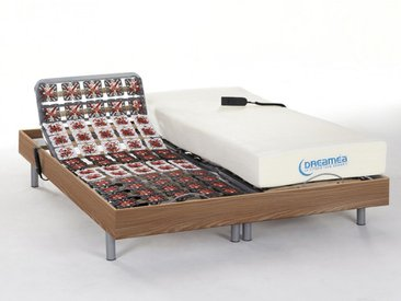 Lit électrique relaxation tout plots matelas mémoire de forme HESIODE III de DREAMEA - moteurs OKIN - chêne naturel - 2x80x200cm