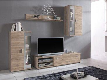 Mur TV DYLAN avec rangements - LEDs - Coloris : Chêne