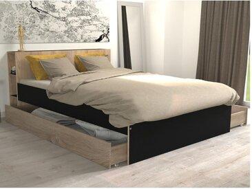 Lit EUGENE avec tête de lit rangements et tiroirs - 140 x 190 cm - Chêne et noir
