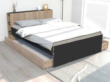 Lit EUGENE avec tête de lit rangements et tiroirs - 140x190cm - Chêne et noir