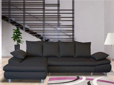 Canapé d'angle convertible en tissu FELTON - Anthracite - Angle gauche