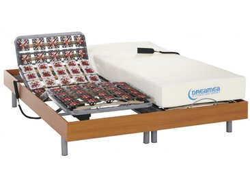 Lit électrique relaxation tout plots matelas mémoire de forme HESIODE III de DREAMEA - moteurs OKIN - merisier - 2x80x200 cm
