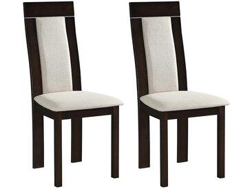 Lot de 2 chaises BELINDA - Hêtre et tissu - Coloris : Noyer et Beige