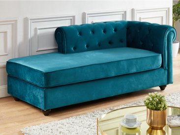 Méridienne droite chesterfield SHIREL en velours - Bleu