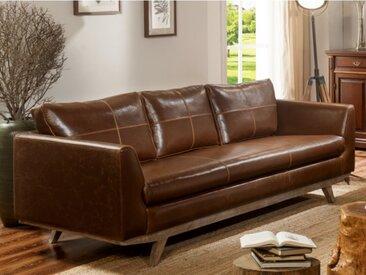 Canapé 3 places en cuir vieilli ALEGAN - Marron