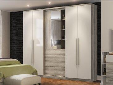 Armoire ISAK - 4 portes - Miroir et tiroirs - L240cm - Chêne et ivoire