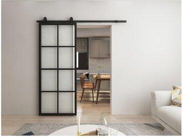 Porte coulissante en applique WILDEN - H205 x L83 cm - Aluminium et verre trempé