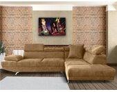 Canapé d'angle XL en tissu ROMAIN - Beige - Angle droit