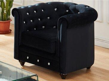 Fauteuil CHESTERFIELD - velours noir et boutons effet cristal