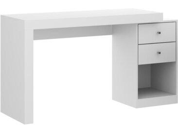 Bureau extensible EVAN - 2 tiroirs & 1 niche - Coloris : Blanc