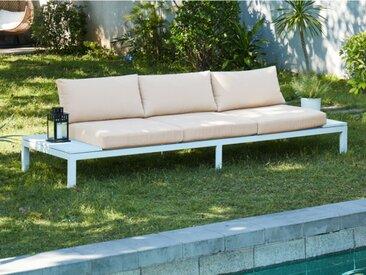 Canapé 3 places de jardin SERAM en aluminium blanc et coussins beige