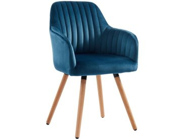 Chaise avec accoudoirs ELEANA - Velours & Métal effet Bois - Bleu