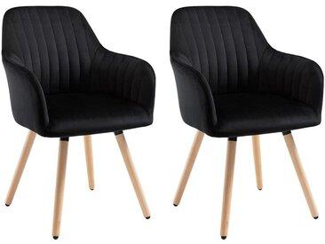 Lot de 2 chaises avec accoudoirs ELEANA - Velours & Métal Effet Bois - Noir