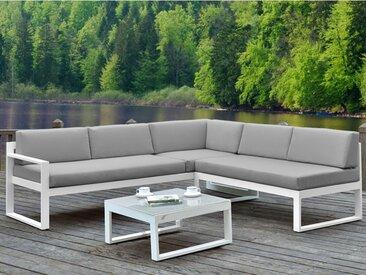 Salon de jardin PALAOS - Table basse et canapé d'angle relevable 6 places - Gris