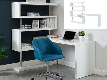 Bureau extensible NICEPHORE avec étagères - MDF laqué blanc