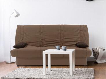 Canapé clic-clac 100% coton avec coffre de rangement FARWEST II - Taupe coussins contrastés