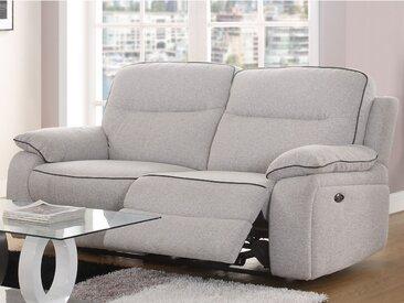 Canapé 3 places relax électrique en tissu CATANE - Gris clair et passepoil noir