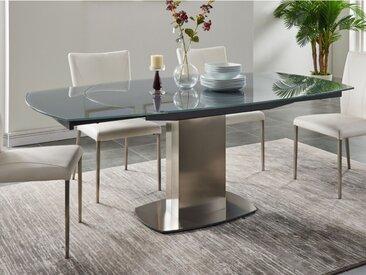 Table à manger extensible TALICIA - Verre trempé & métal - 6 à 8 couverts - Coloris Gris