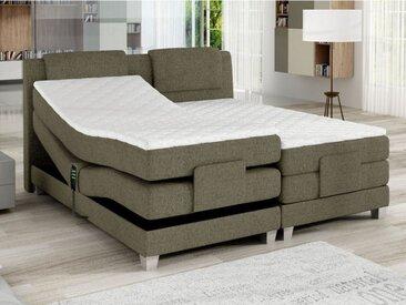 Ensemble boxspring tête de lit + sommiers relaxation électrique + matelas + surmatelas CASTEL de PALACIO -  2x80x200cm - Tissu beige