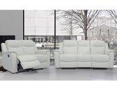 Canapé 3+2 places relax EVASION en cuir - blanc ivoire - avec plateau bar
