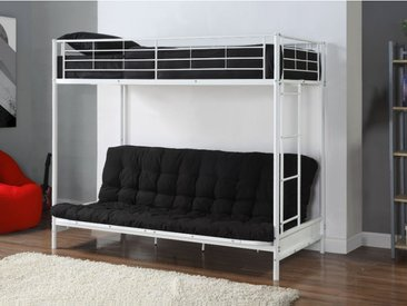 Pack MODULO IV - Lit mezzanine blanc  avec banquette convertible 90x190cm et son futon noir 135x190cm