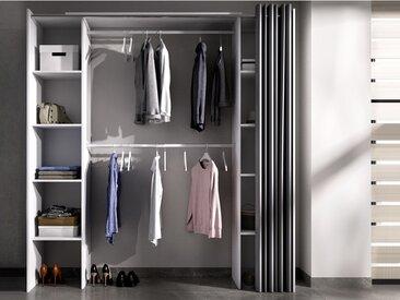 Dressing extensible DORIAN avec rideau - L110/180cm - Coloris : Blanc et gris