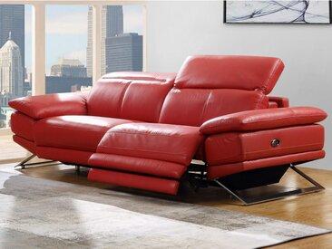Canapé 3 places relax électrique en cuir PUNO - Rouge