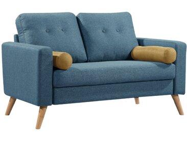 Canapé 2 places TATUM en tissu - Bleu