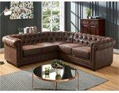 Canapé d'angle CHESTERFIELD en microfibre aspect cuir vieilli
