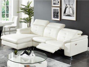 Canapé d'angle relax électrique en cuir de buffle LISMORE - Ivoire - Angle gauche