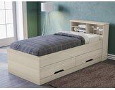 Lit BORIS avec tiroirs et rangements - coloris chêne - 90 x 190 cm