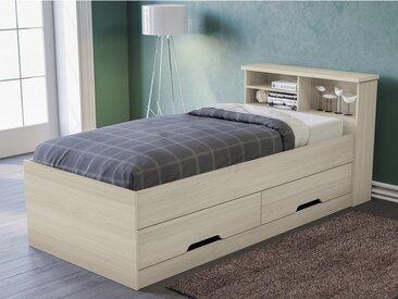 Lit BORIS avec tiroirs et rangements - coloris chêne - 90x190cm