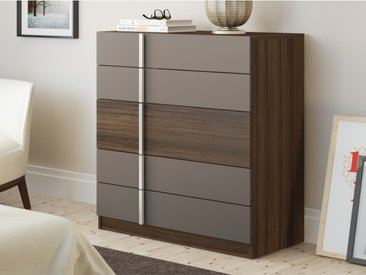 Commode BODIL - 5 tiroirs - Chocolat et taupe